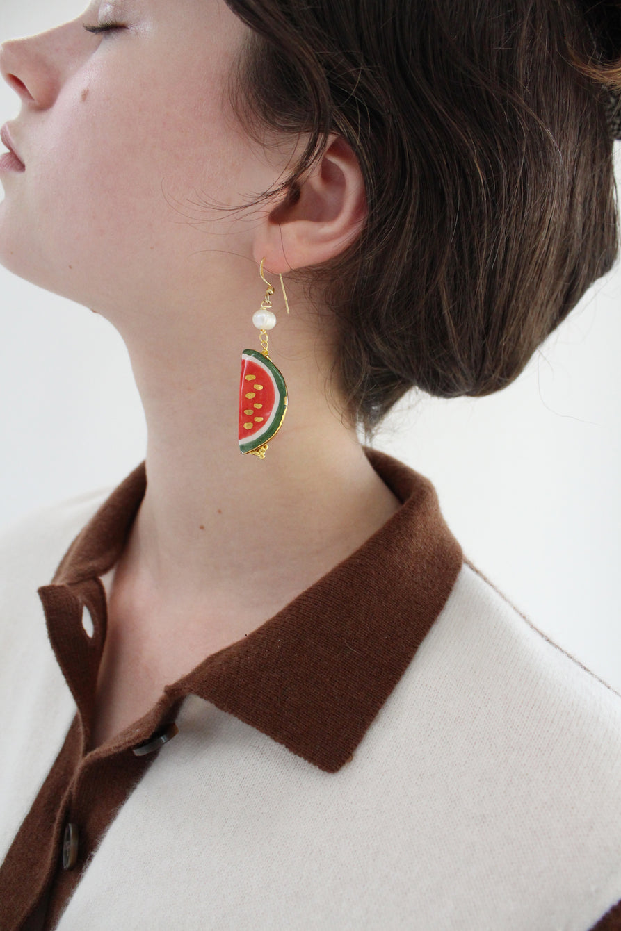 Italian Hand Painted Ceramic Earrings Watermelon