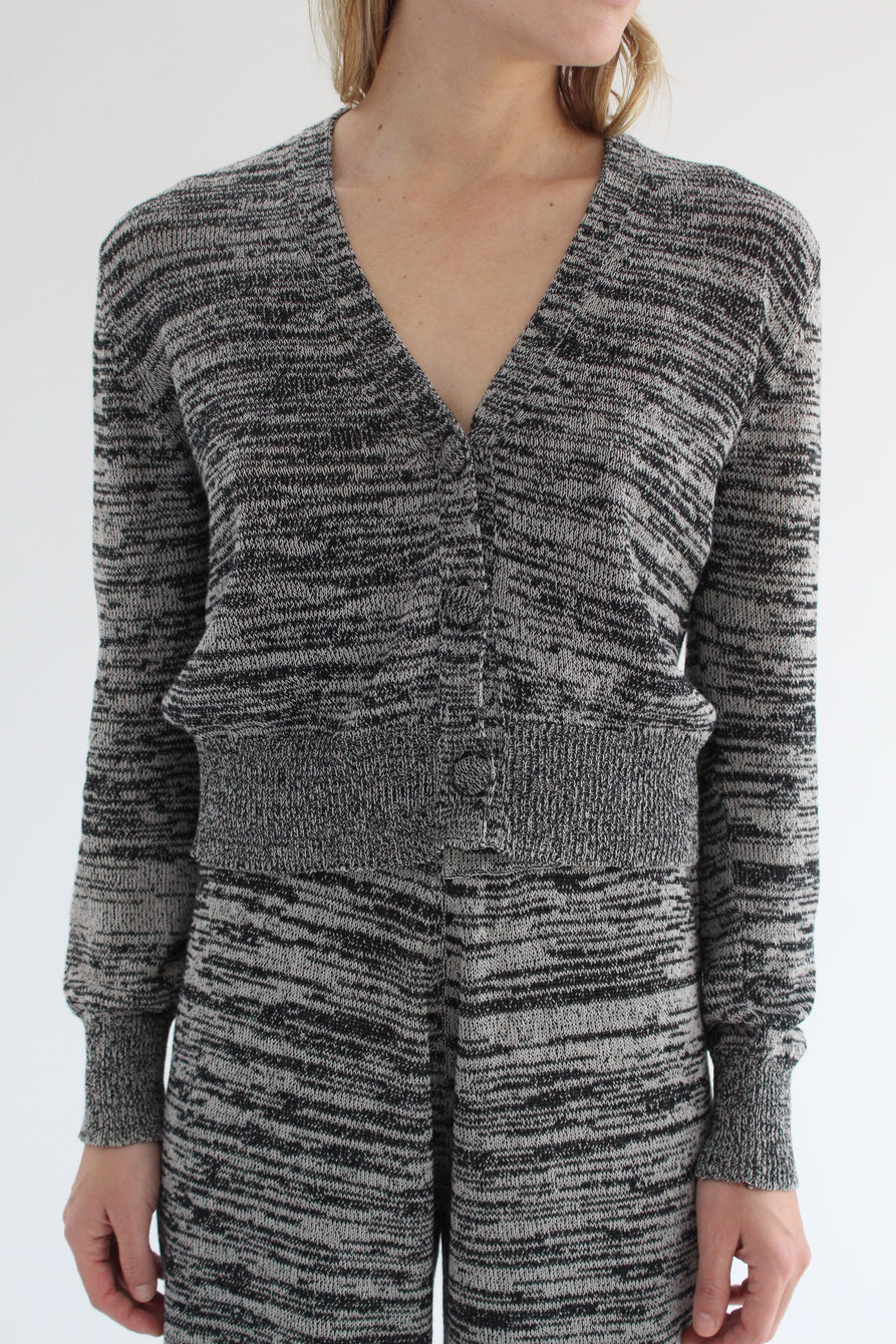 Beklina Cotton Knit Cardigan Black/Grey
