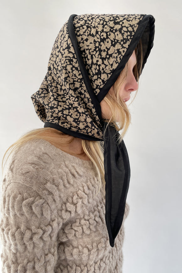 Beklina Quilted Bonnet Popcorn Black/Tan