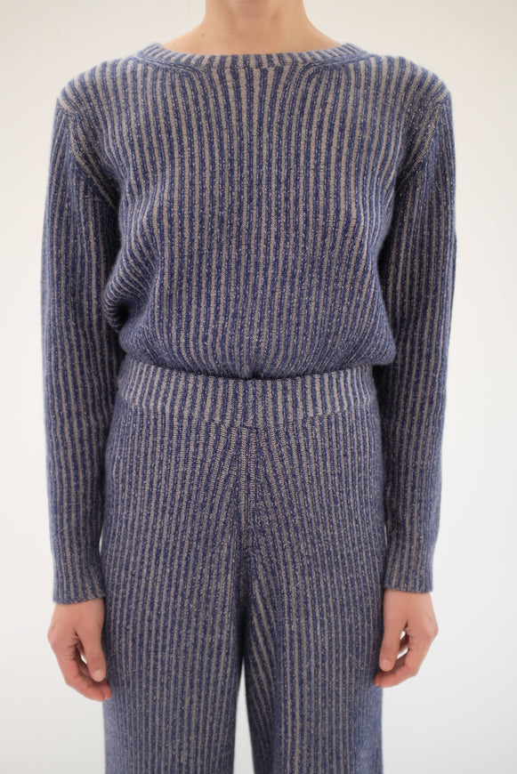Beklina Cashmere Ribbed Crew Sweater Navy