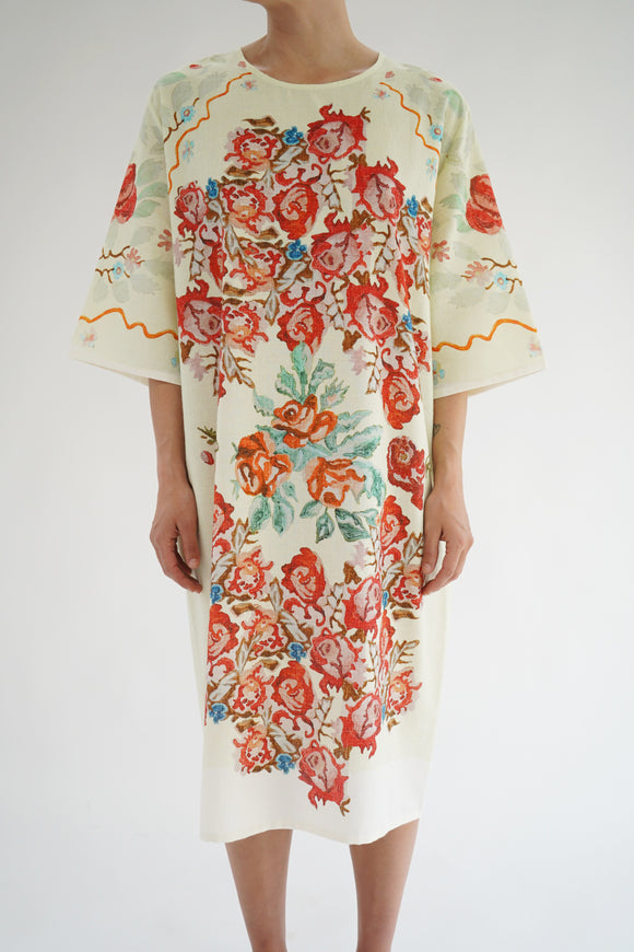 Anntian Pale Yellow Flower Paint T-Shirt Dress
