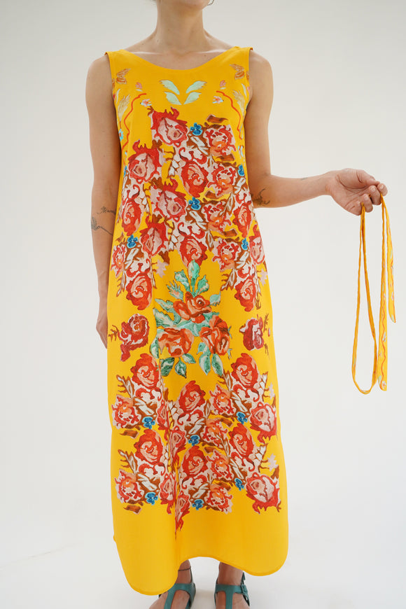 Anntian Yellow Flower Print Dress