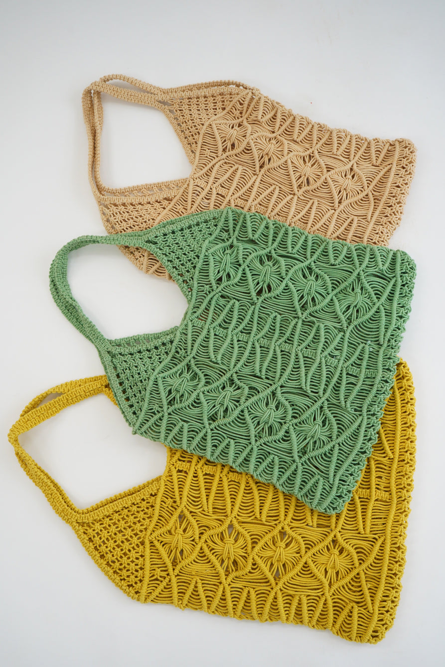 Beklina Macramé Tote Bag Lemon