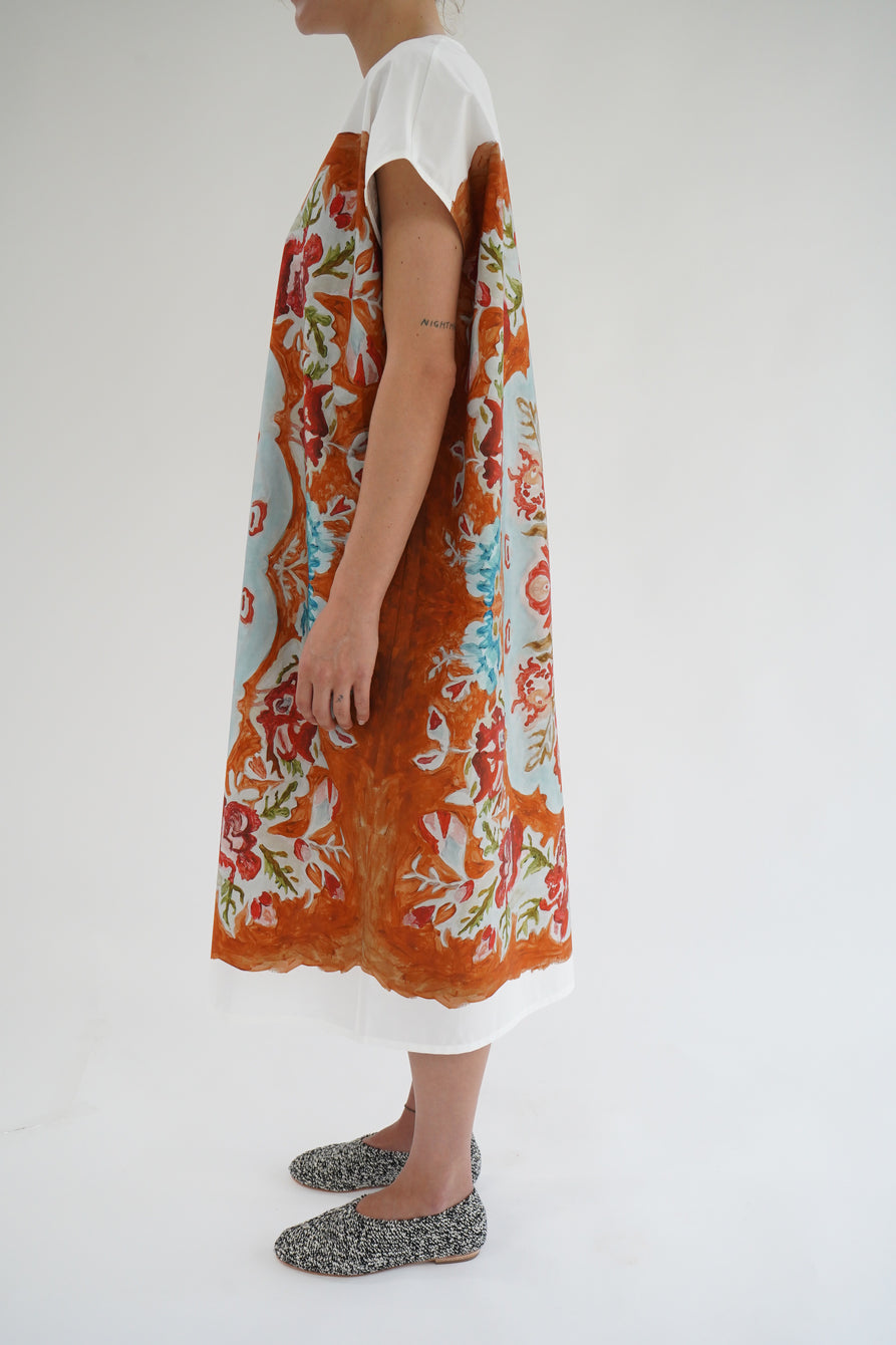 Anntian Painted Flowers Copper T-Shirt Dress