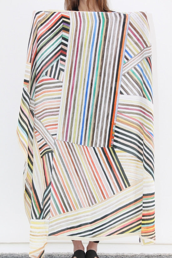 Hui Hui Painted Stripes Silk Scarf / Beklina