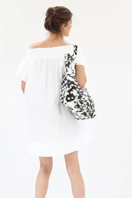 Lina Rennell Canvas Tote Bag Black Leaf Dot