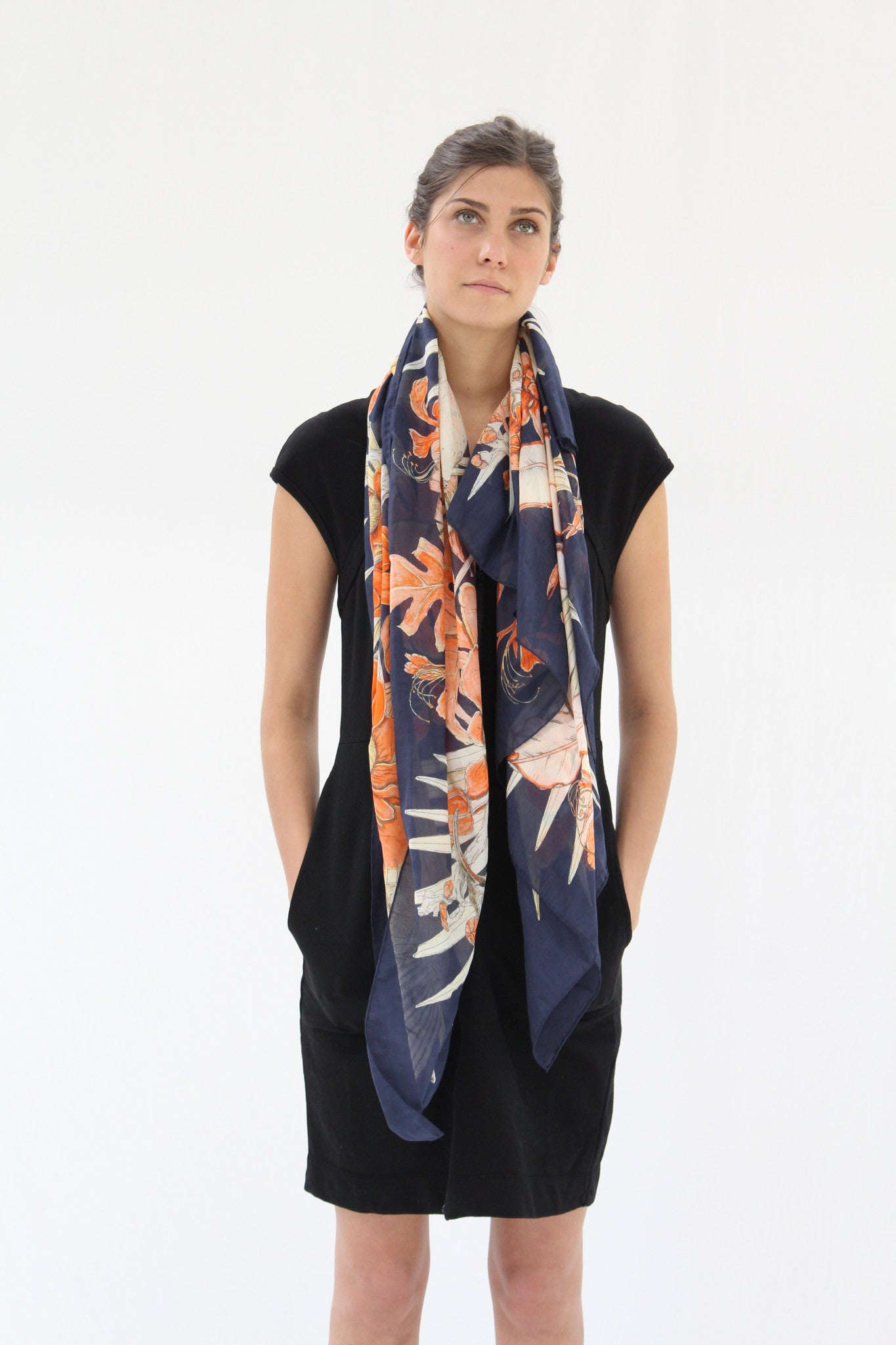 SWASH Silk & Cotton Scarf Amazonia Navy