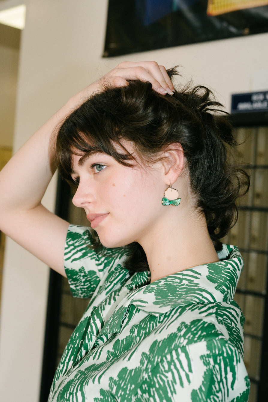Nikki Couppee Nude Green Gem Earrings