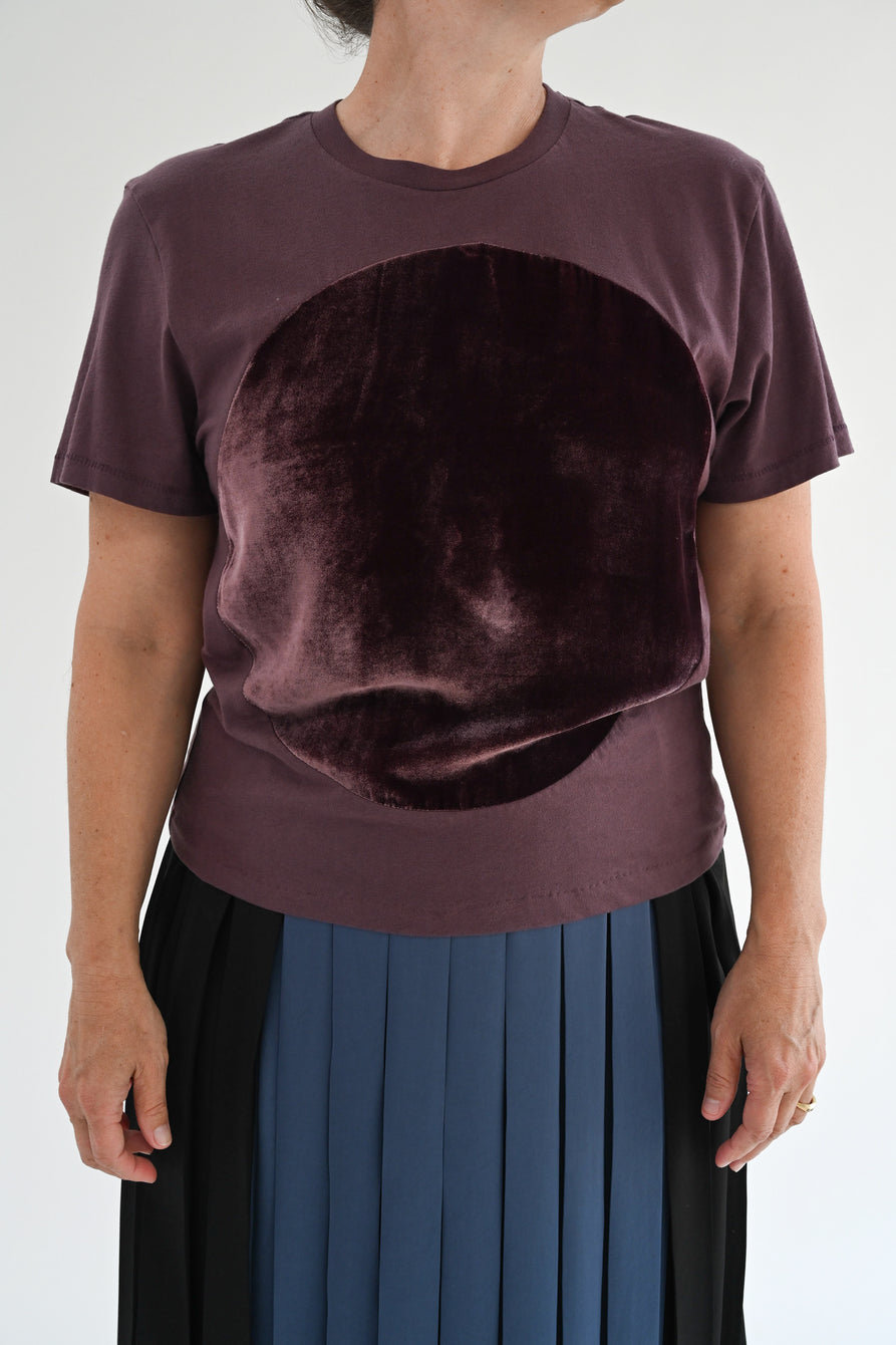 Correll Correll Velvet Circle T Shirt Plum Brown