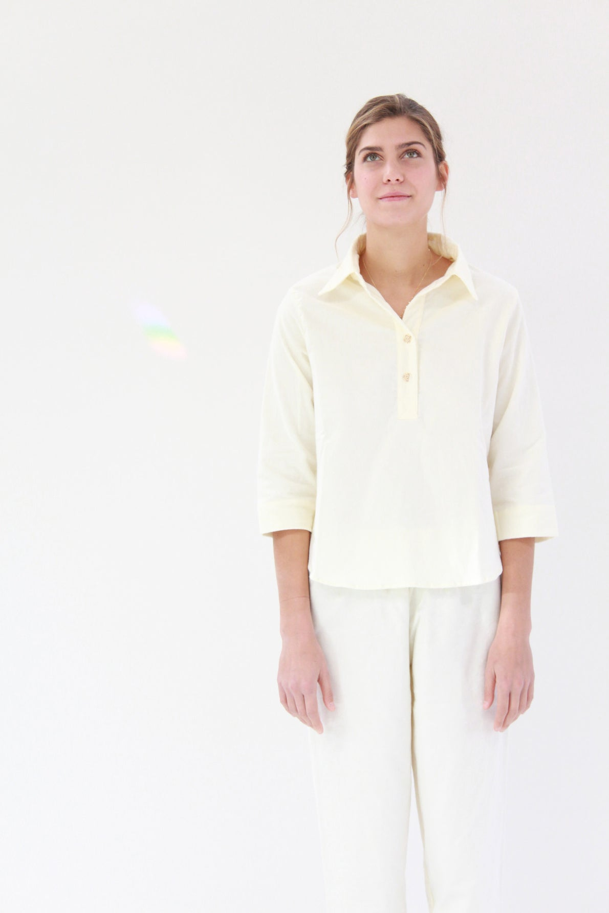 Lina Rennell Organic Cotton Flannel Pajama Set Ivory