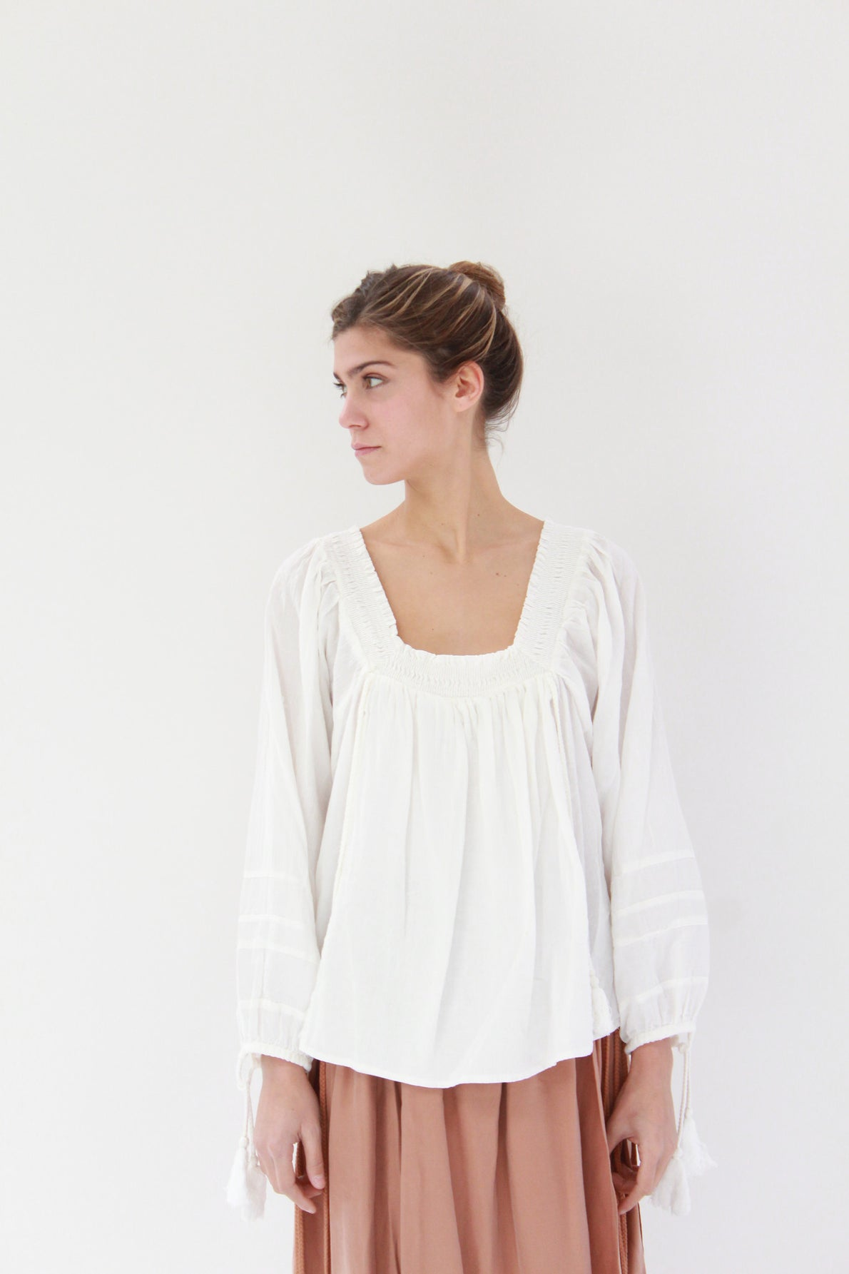 Beklina Apiece Apart Glorietta Square Neck Top White