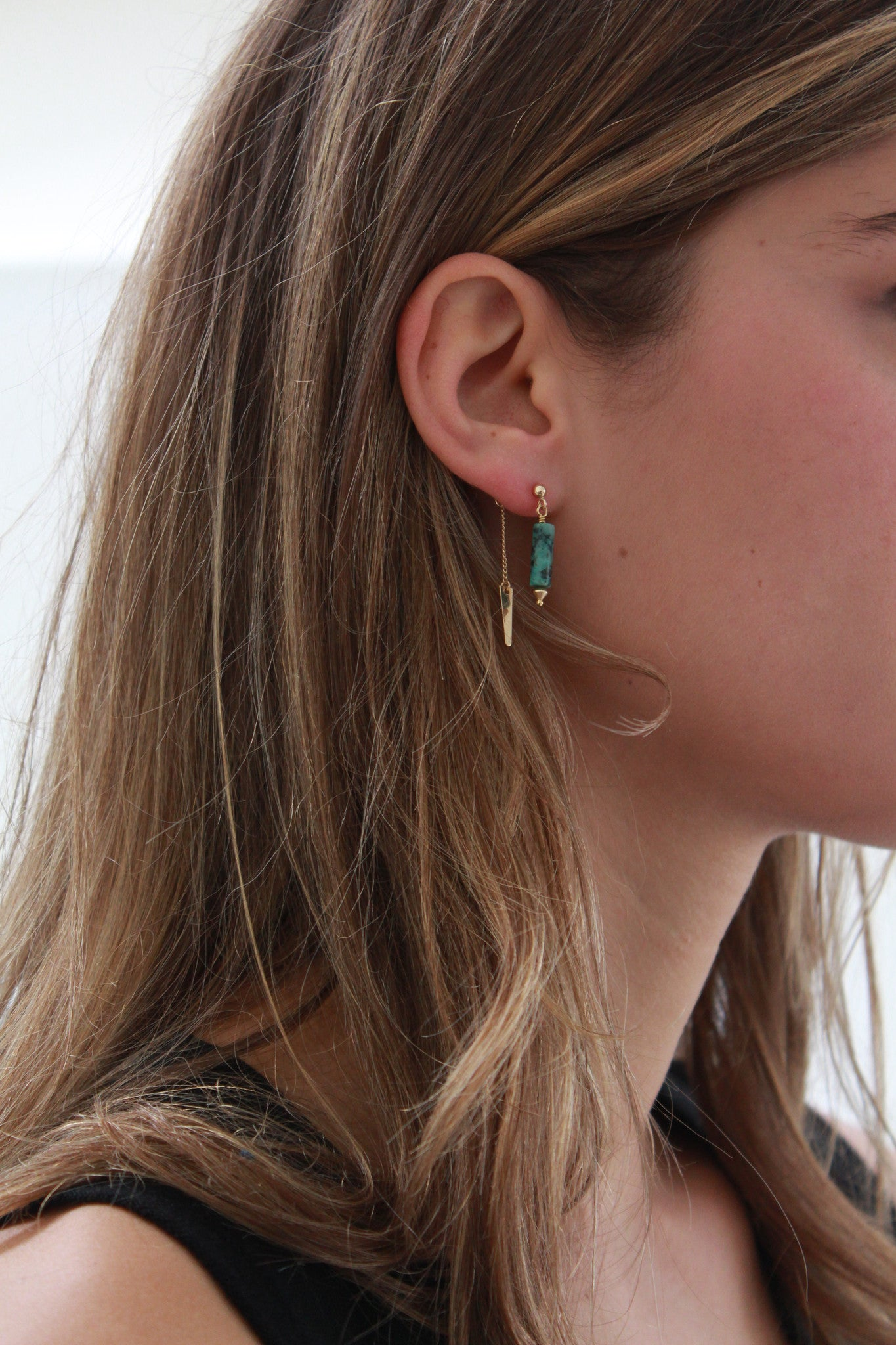 Beklina PG Turquoise Double Drop Earrings