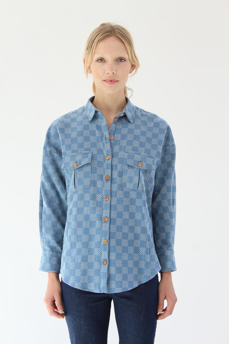 Heinui Ninon Shirt Bleached Sashiko Embroidered Cotton At Beklina