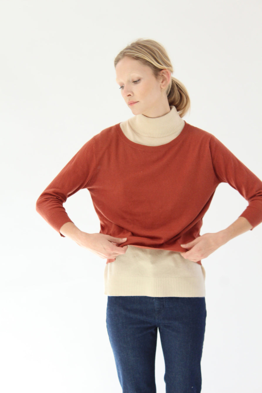 Beklina Cotton 3/4 Sleeve Knit Top Spice