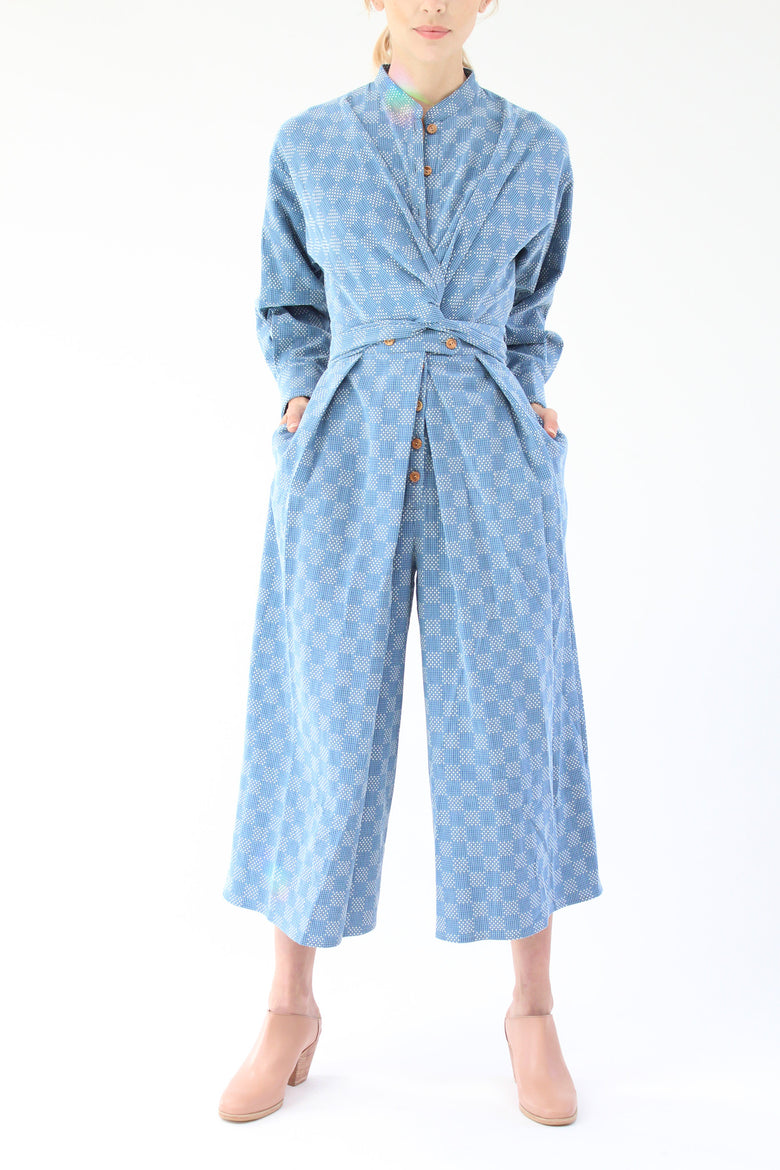 Heinui Ernest Jumpsuit Bleached Sashiko Embroidered Cotton At Beklina
