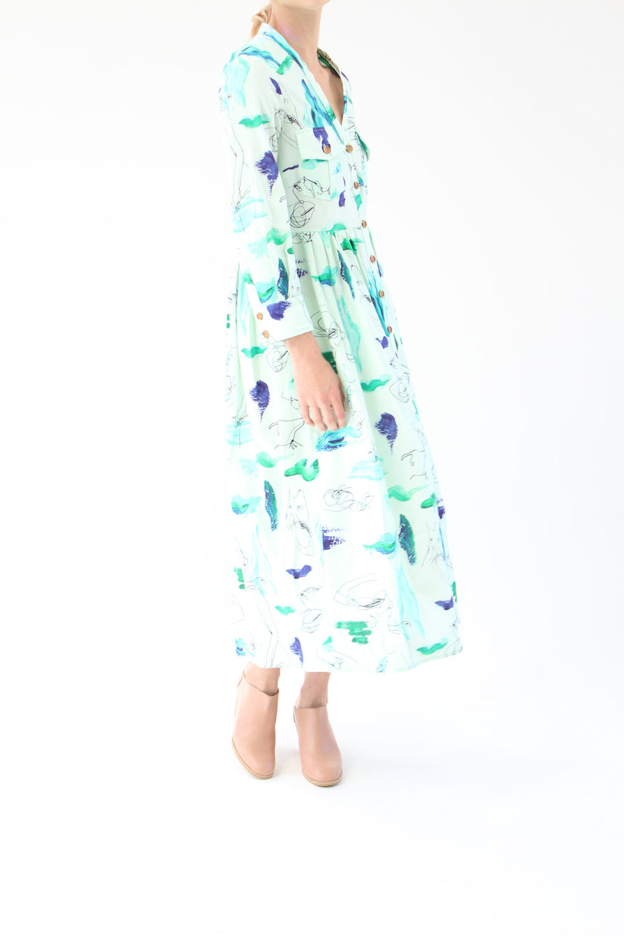 Heinui Nico Dress Mint Strokes Scribbles Print At Beklina