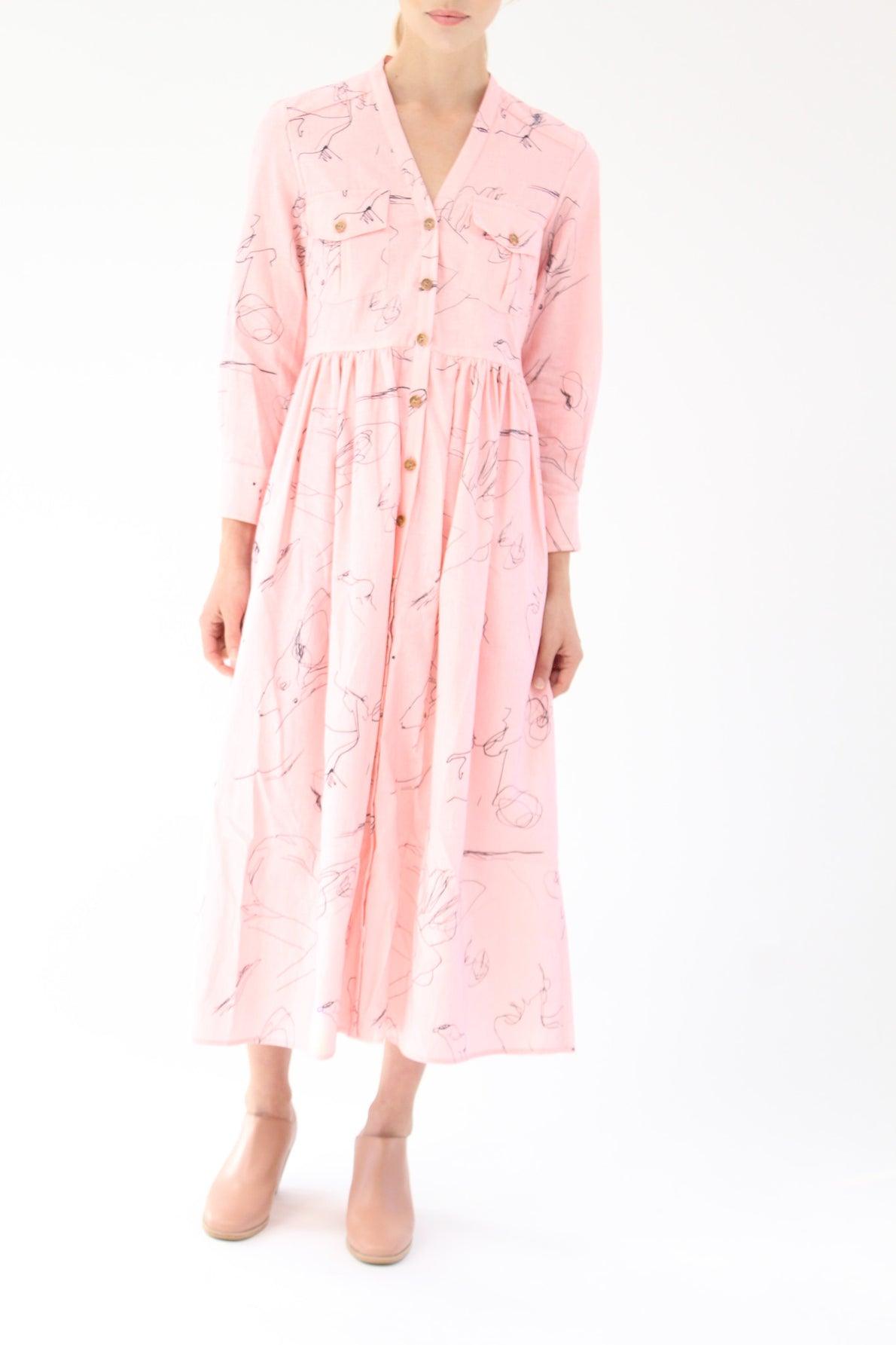Heinui Nico Dress Pink Scribbles Print At Beklina