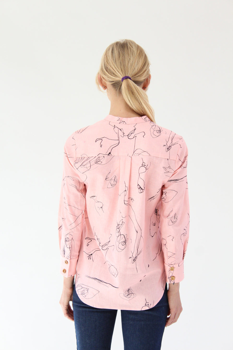 Heinui Ida Shirt Pink Scribles At Beklina