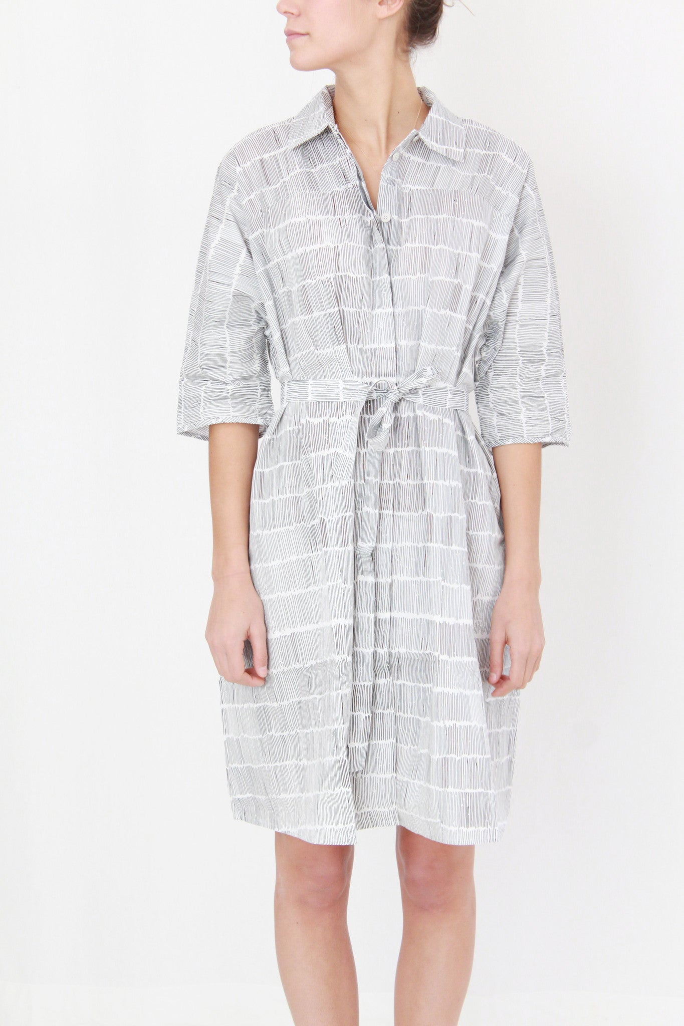 Beklina / Kowtow Etched Dress Dashes On White