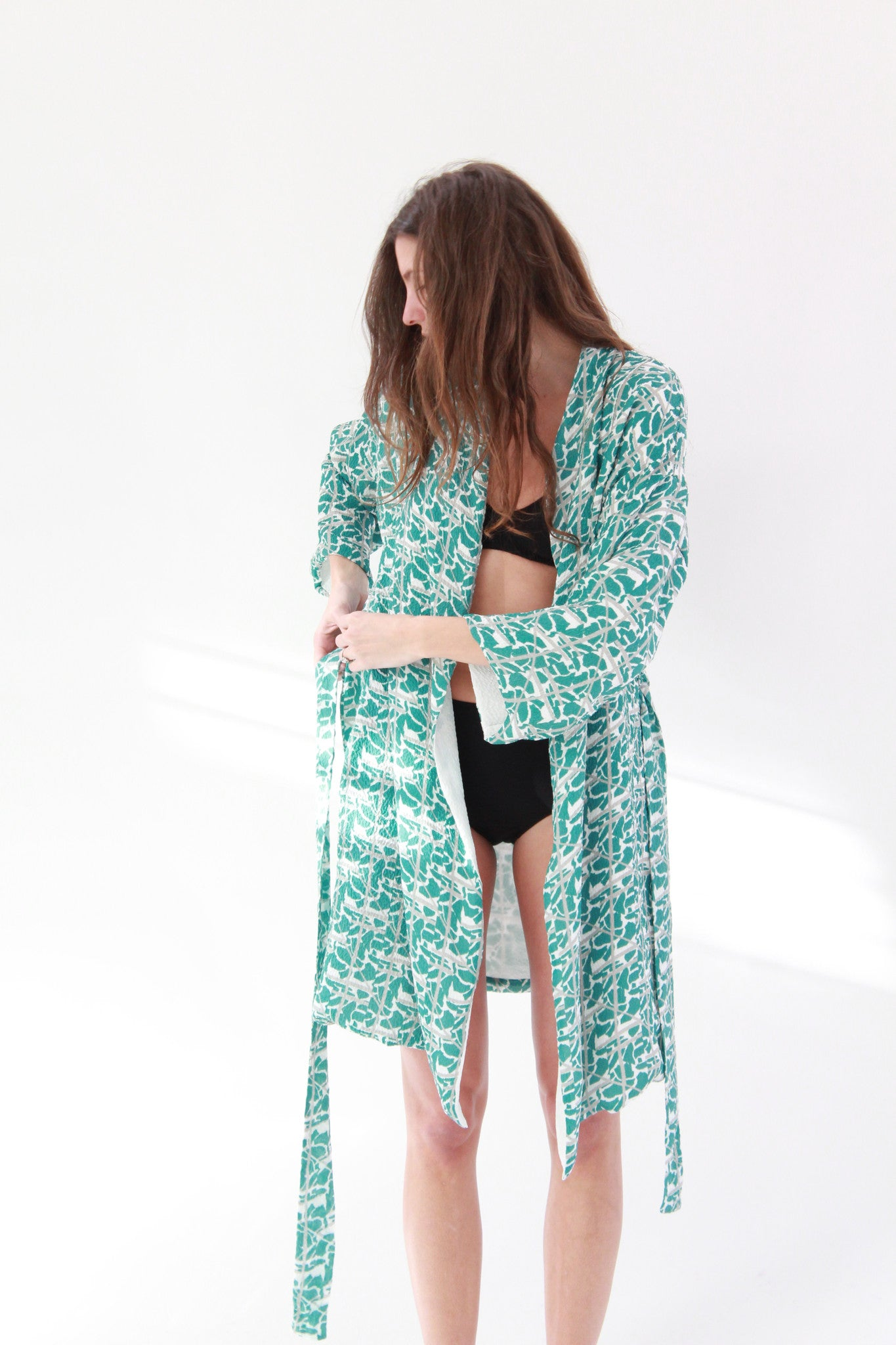 Lina Rennell Silk Robe Collage Print