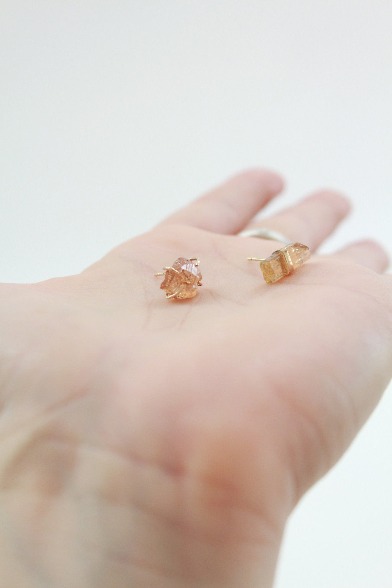 MJM Garnet And Topaz Mismatched Stud Earrings