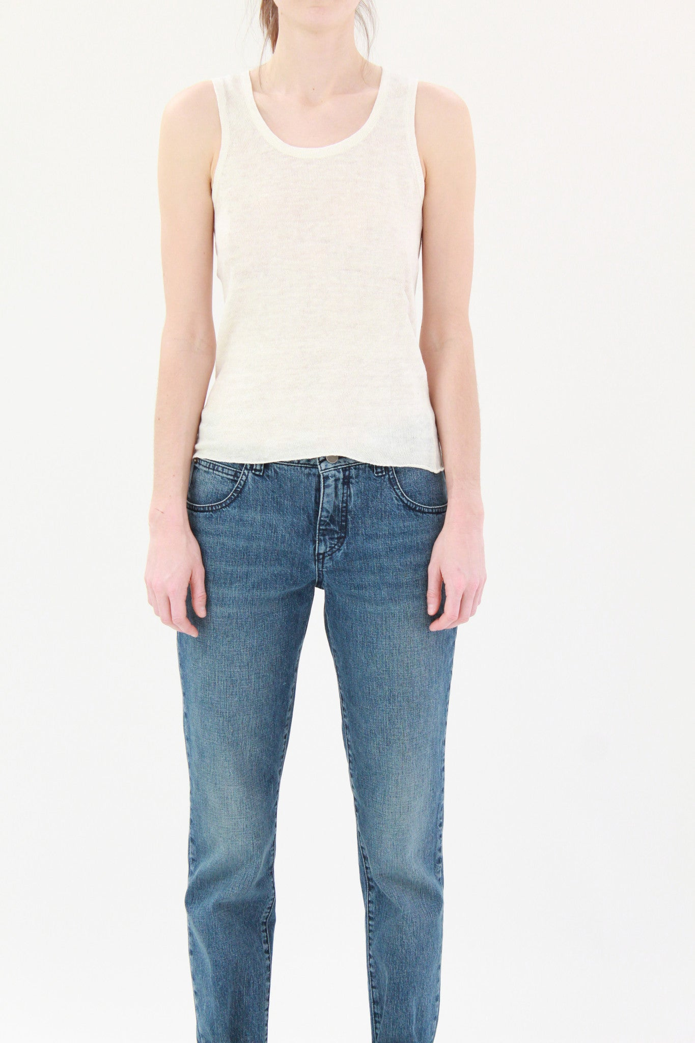 Lina Rennell Linen Tank White