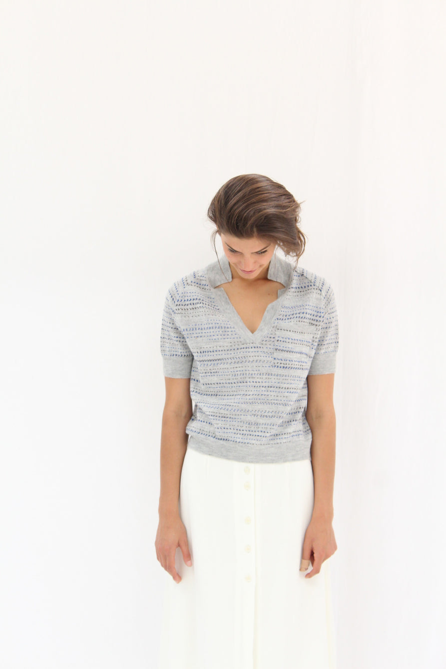 Rachel Comey Short Sleeve Knit Polo Grey