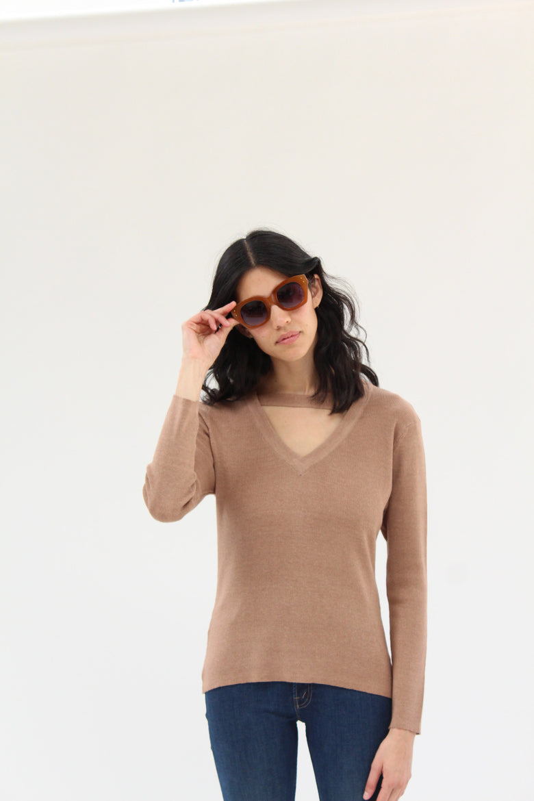 Beklina Ribbed Bar V-Neck Sweater Toast