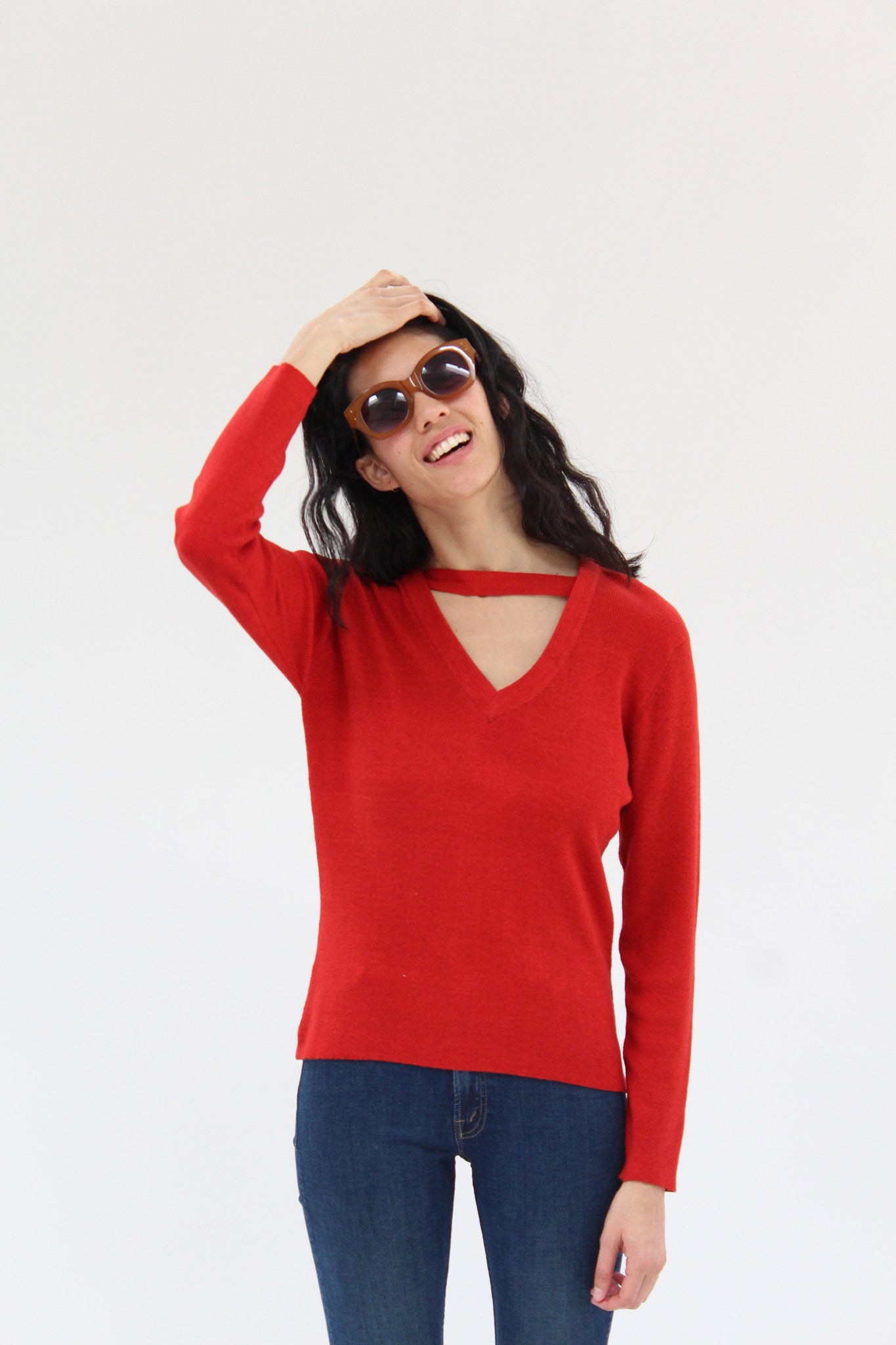 Beklina Ribbed Bar V-Neck Sweater Red Lacquer
