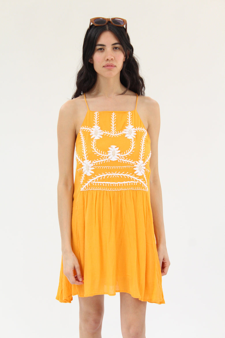 Piper Hand Embroidered Dress Sunshine