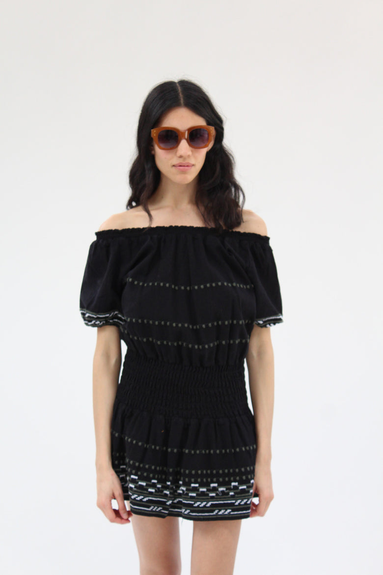 Piper Butuan Hand Embroidered Dress Black