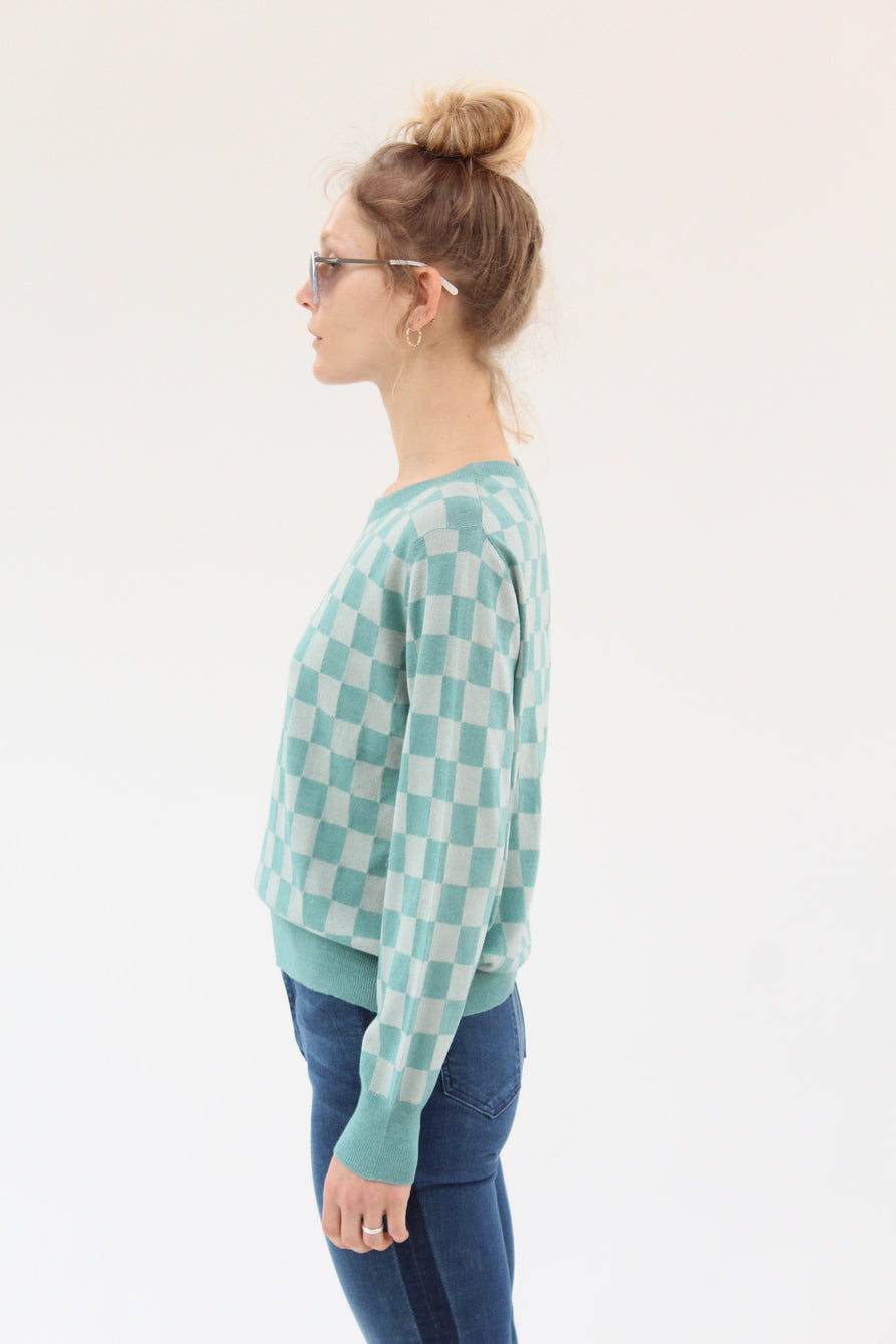 Beklina L/S Sleeve Knit Top Check Aqua
