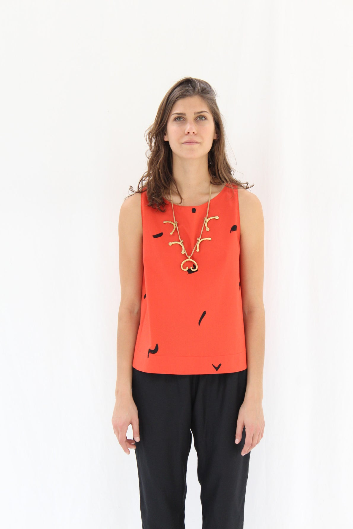 Osei Duro Blossom Necklace Brass & Leather