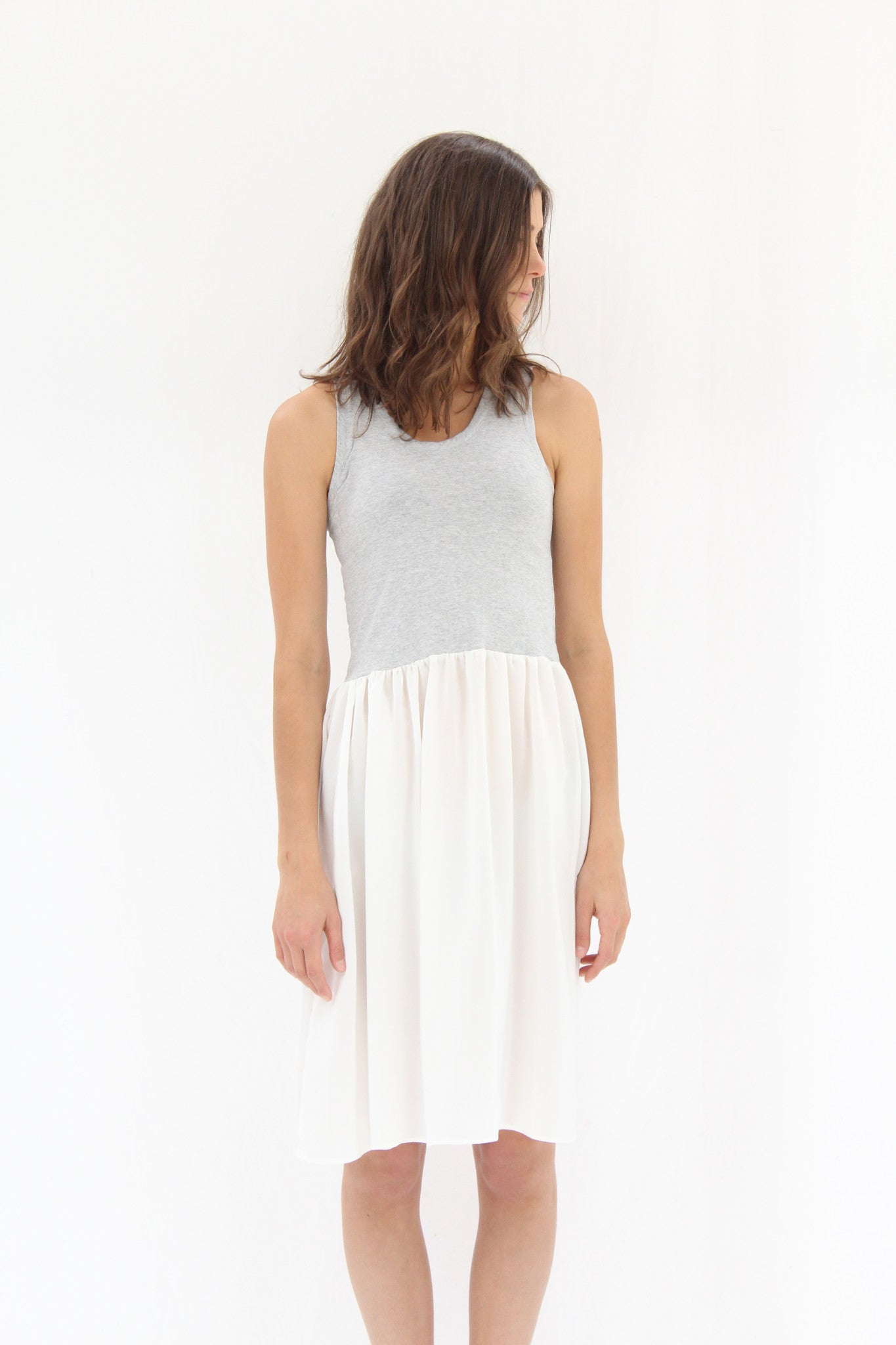 Lina Rennell Gravel Tank Dress Grey & White