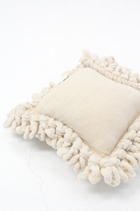 Hand Loomed Wool Pillow Natural