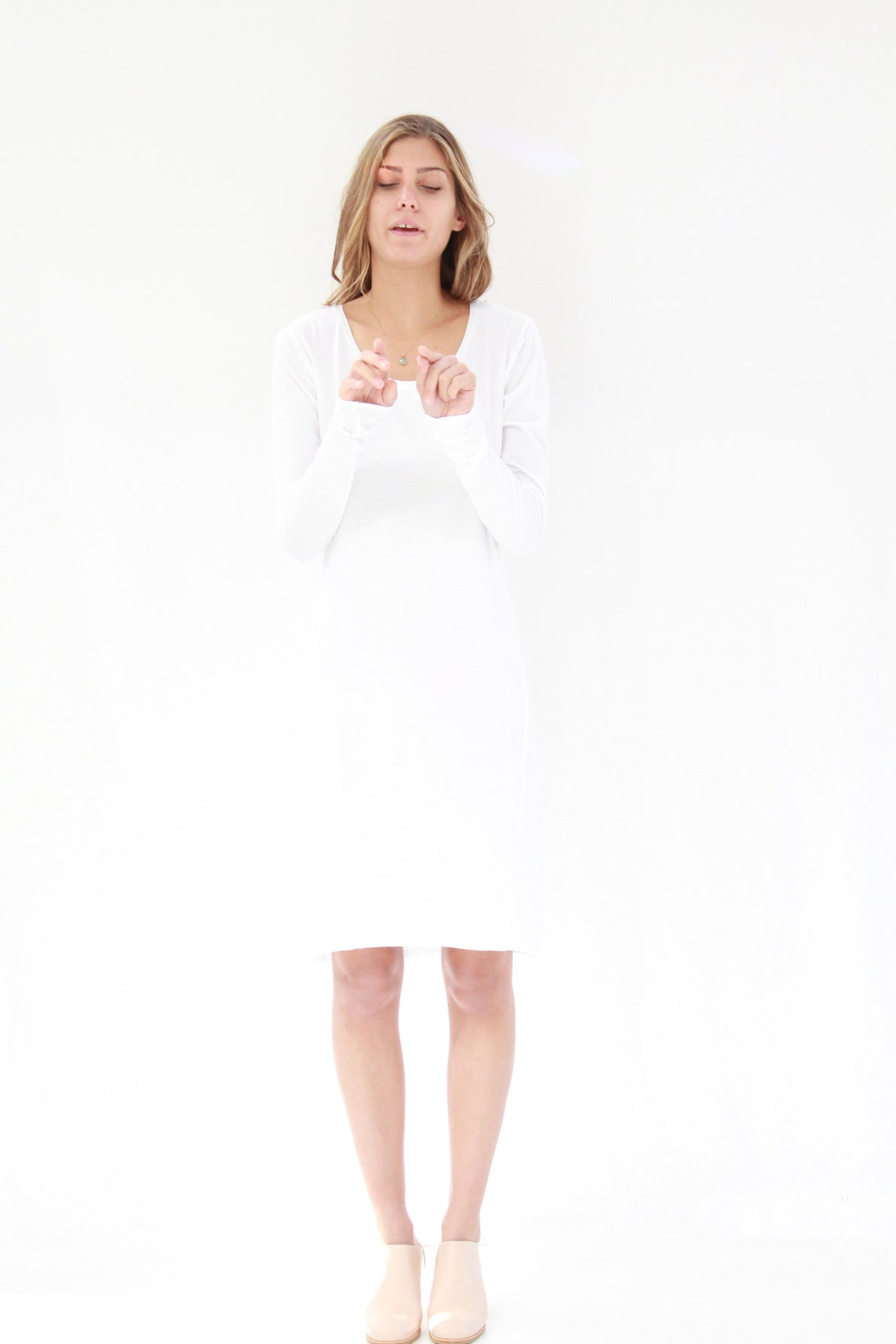 Beklina / Kowtow Building Block Long Sleeve Dress White