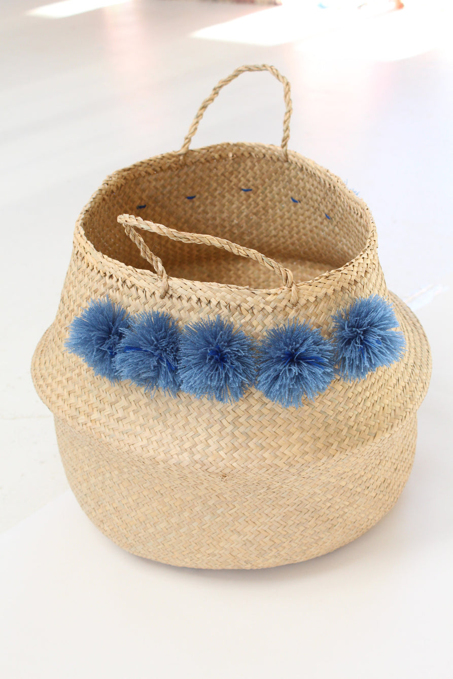 Beklina Pom Pom Basket Tall Blue