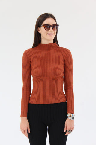 Micaela Greg Rib Variegated Turtleneck Rust