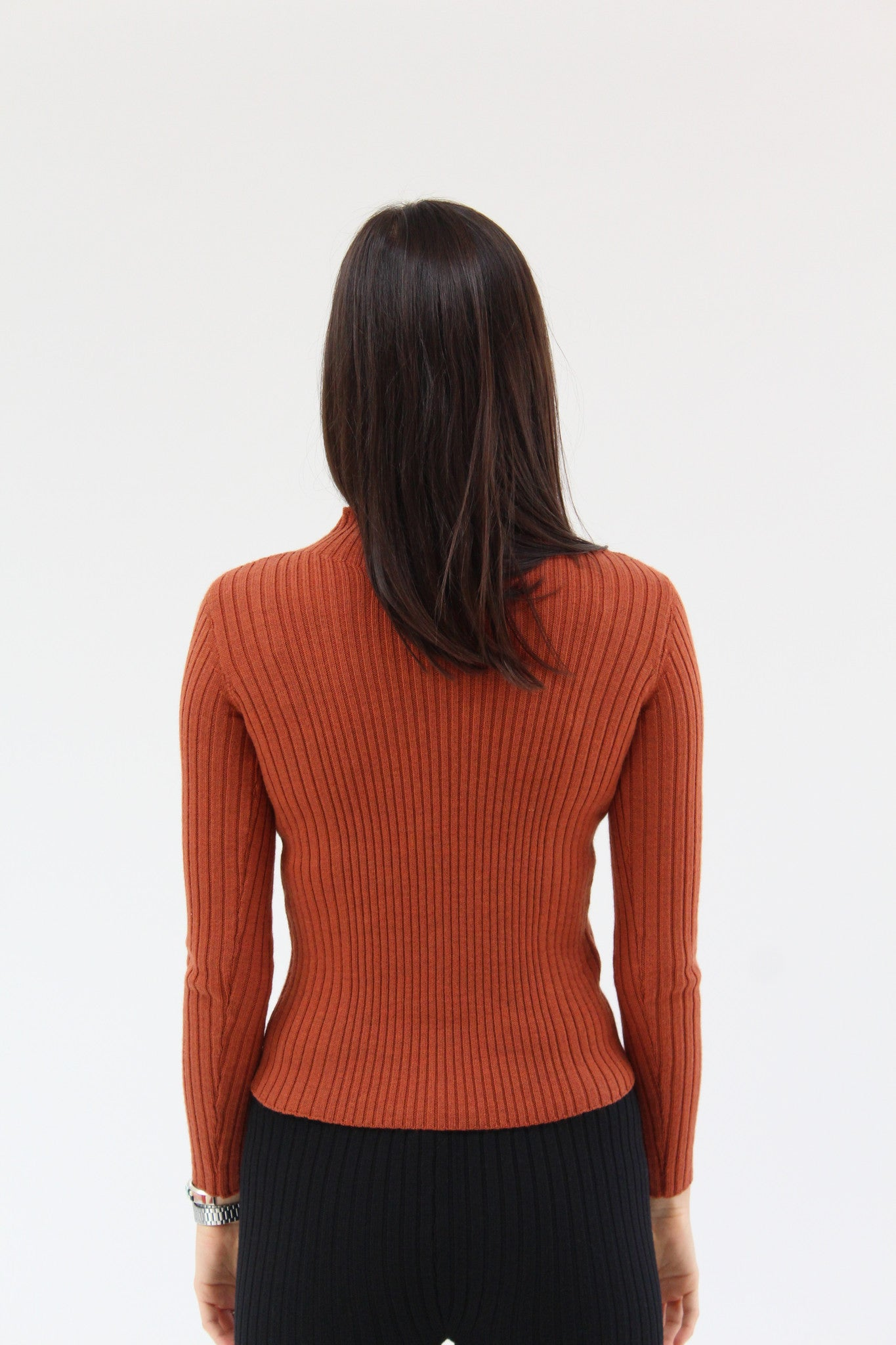 Micaela Greg Rib Variegated Turtleneck Rust / Beklina