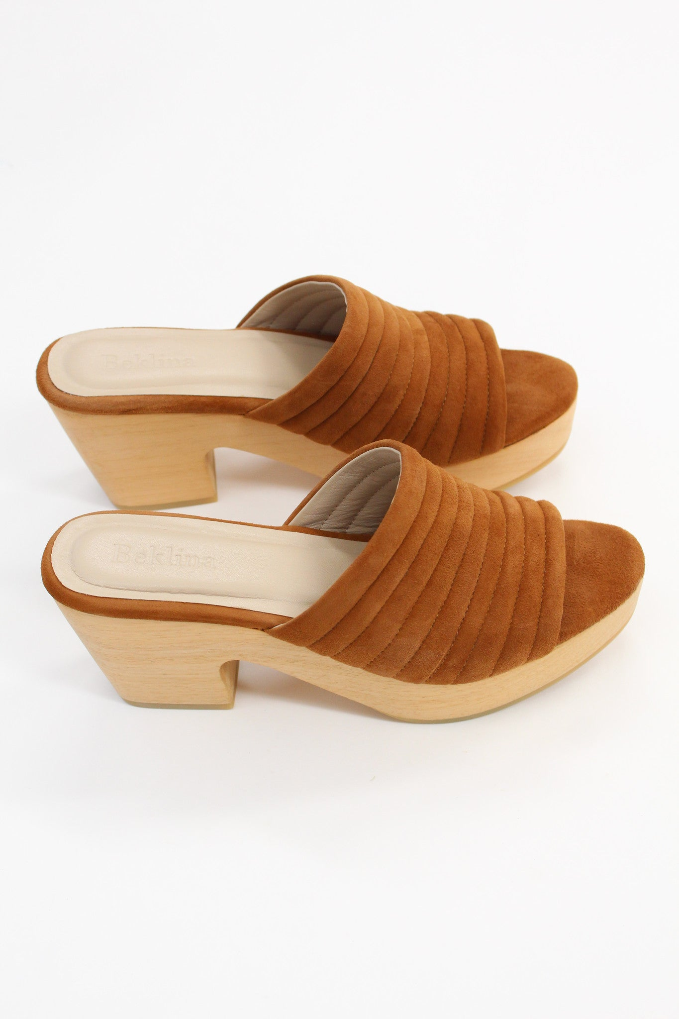 Beklina Suede Ribbed Clog Whiskey