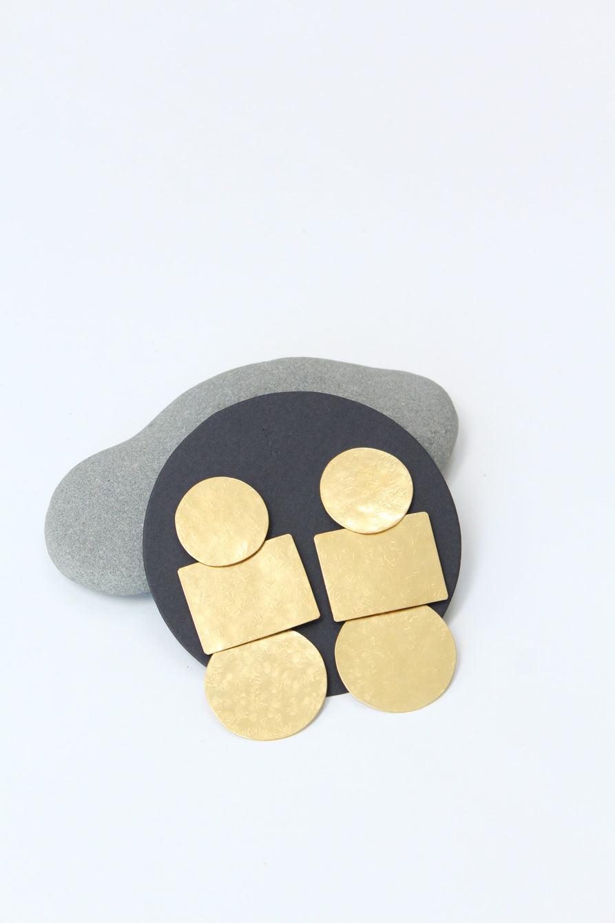 Annie Costello Brown Popova Disc Earring Gold / Beklina