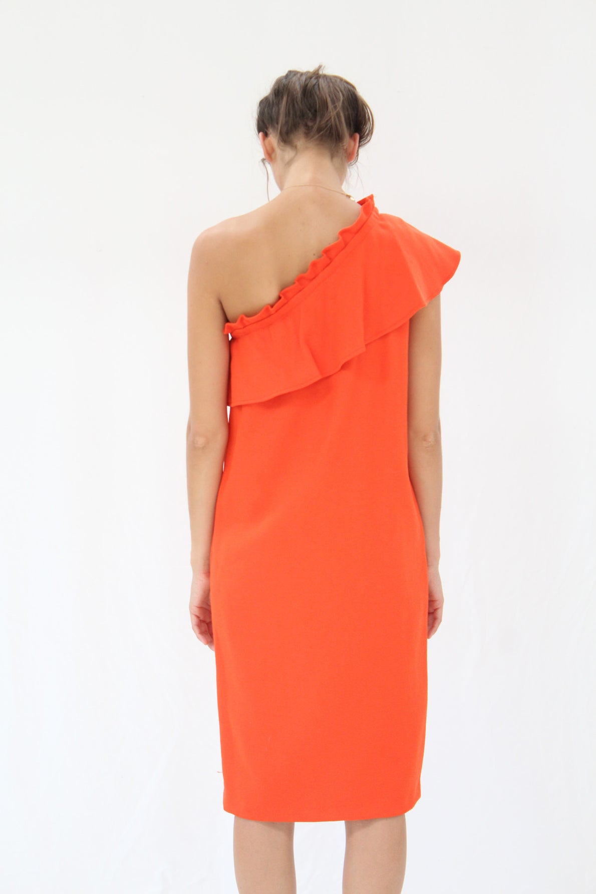 Apiece Apart Reina One Arm Ruffle Dress Persimmon