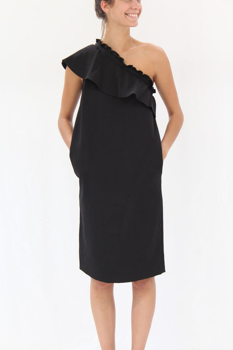 Apiece Apart Reina One Arm Ruffle Dress Black