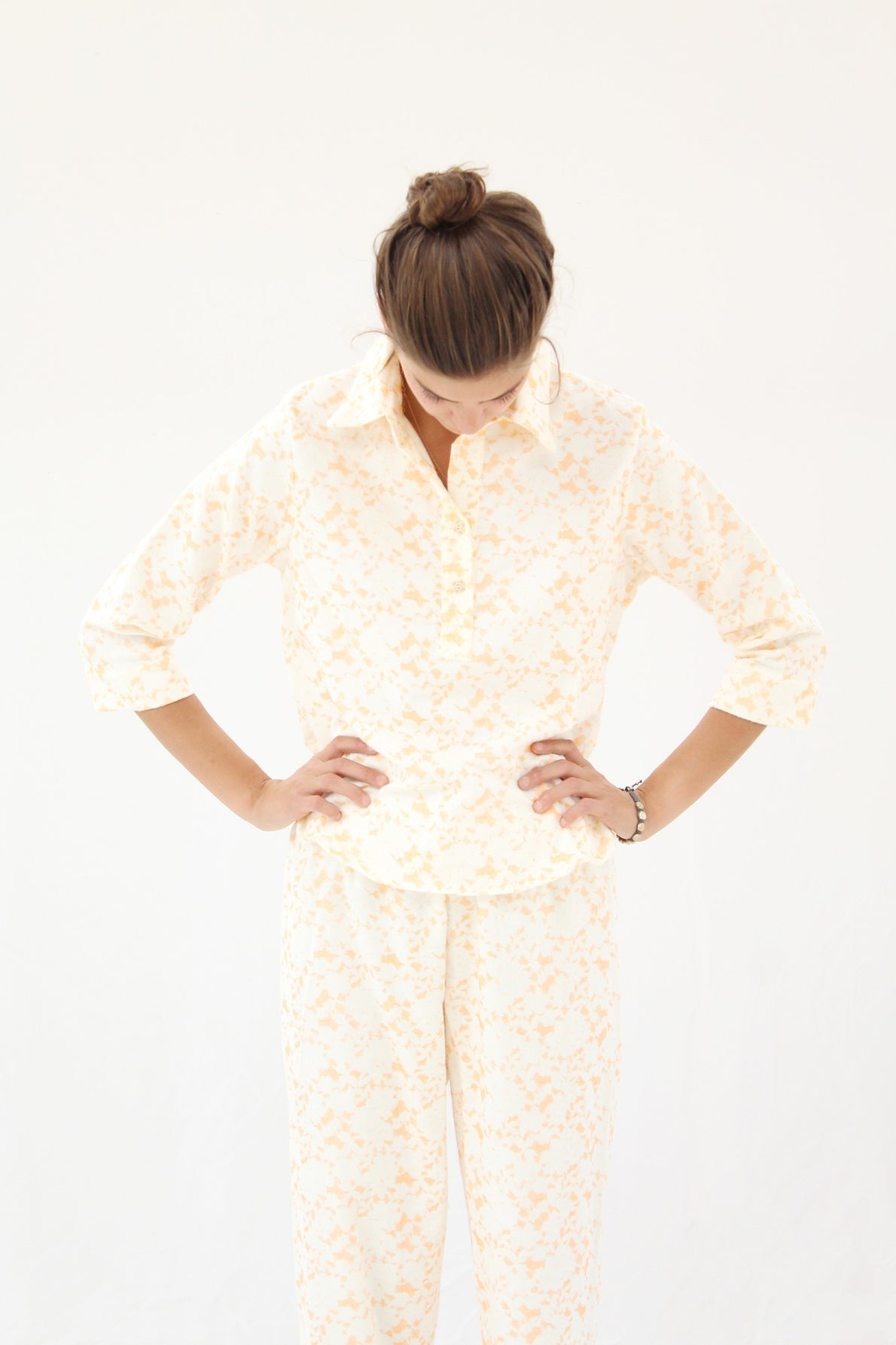 Lina Rennell Organic Cotton Flannel Pajama Set / Citrus Lace