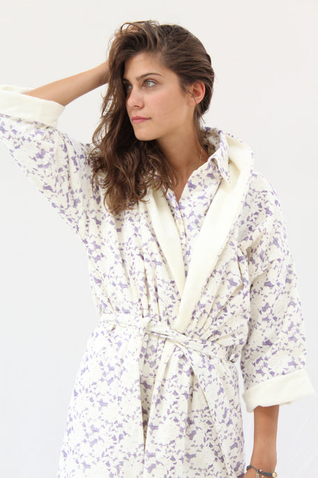 Lina Rennell Organic Cotton Robe Lace Grape