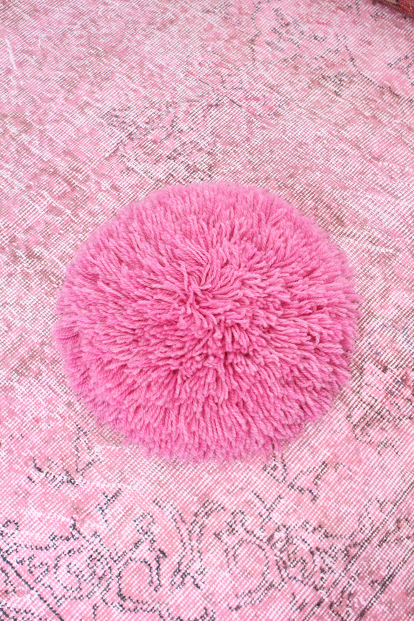Alpaca Handmade Fringe Pillow Rose