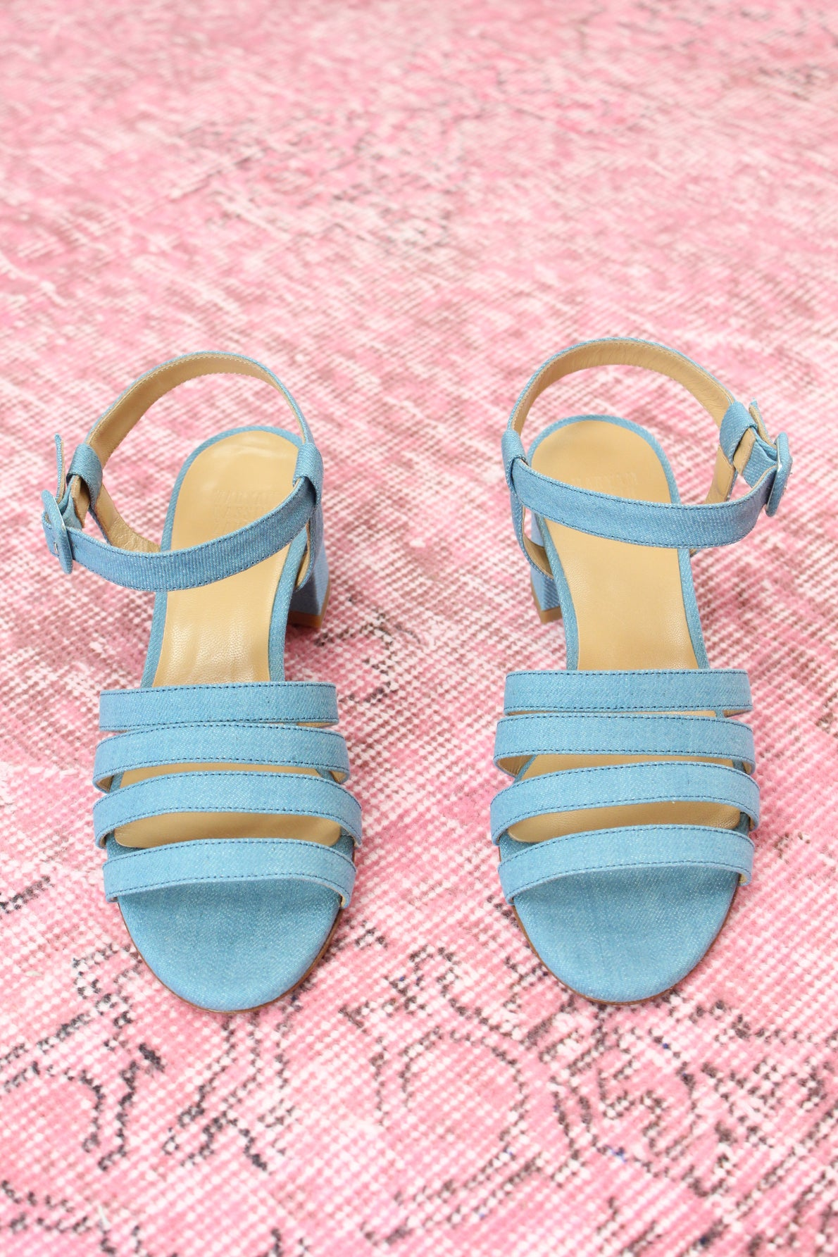 MNZ Palma Low Heel Sandal Blue Denim