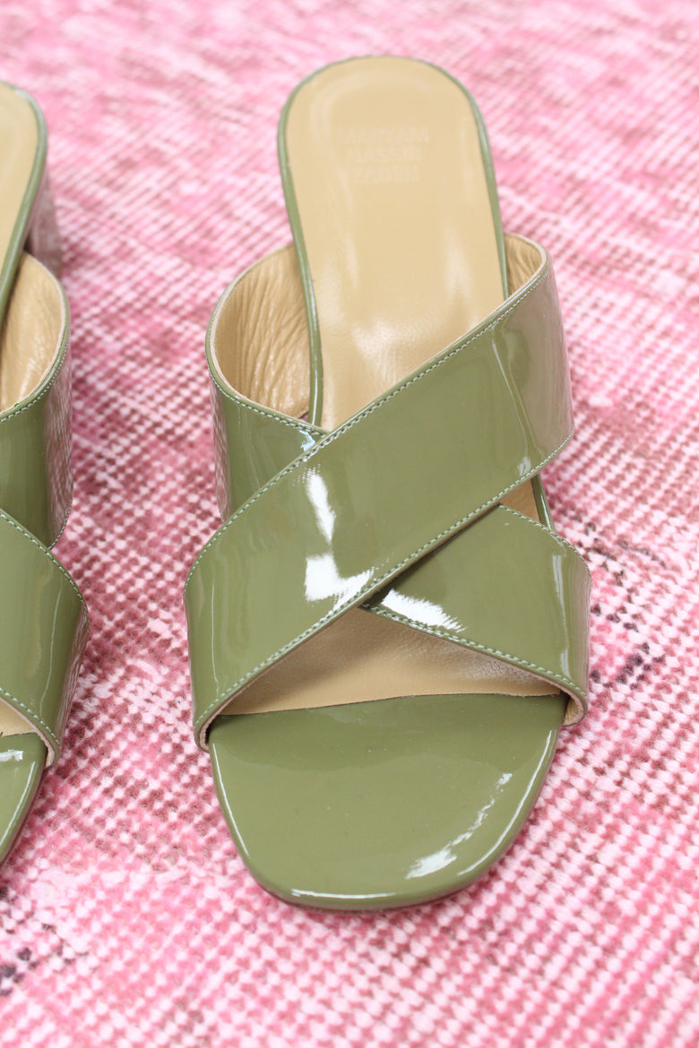MNZ Lauren Slide Moss Green Patent Leather