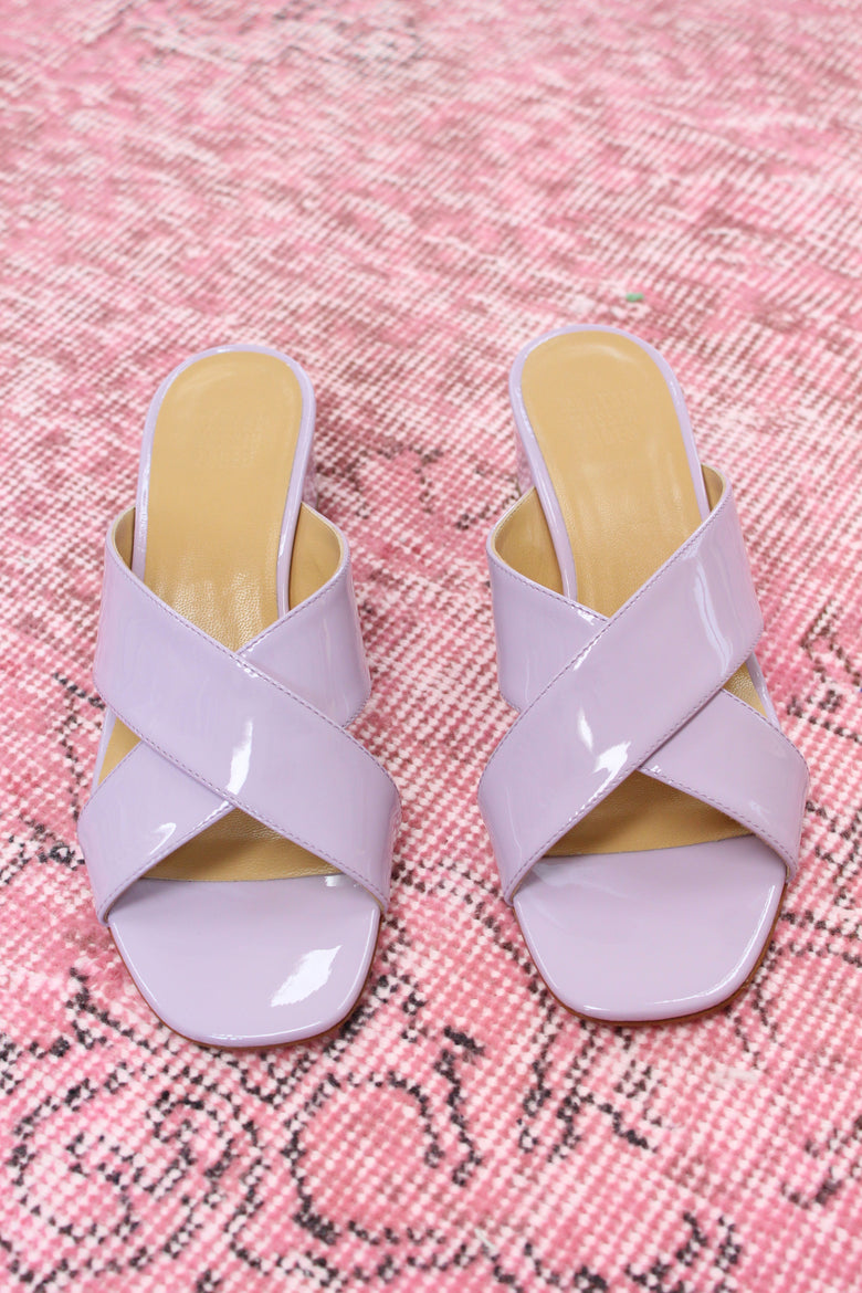 MNZ Lauren Slide Lavender Patent Leather