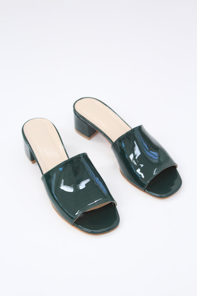 MNZ Sophie Slide Bottle Green Patent